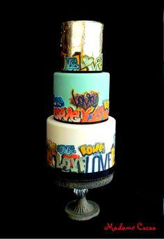 Graffiti 'LOVE' Wedding Cake