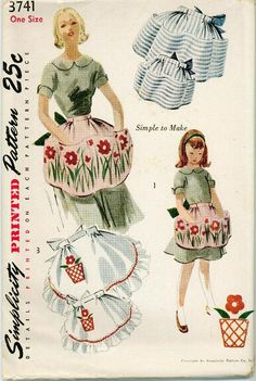 1951 Simplicity 3741 Apron Sewing Pattern Vintage Retro Half UNCUT Womens and Childrens With Transfer. $28.00, via Etsy.