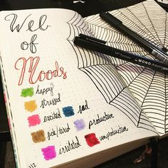 I'm back!! Thank you for your patience as I was crazy busy this past week! Happy October!! • • • • •#bulletjournal #bulletjournaling #moodtracker #spiderweb #bulletjournalss #plannerpicturefeature #bujo #bujocommunity #bulletjournallove #bujojunkies #october #halloween
