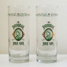 Two highball glasses branded with Bombay Dry Gin 15.5 cm x 6 cm each [in box]