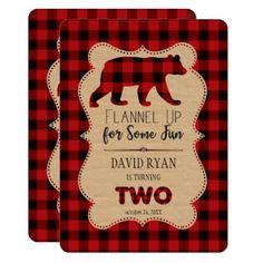 #Red Buffalo Plaid Birthday TWO Custom Card - #birthday #invitations