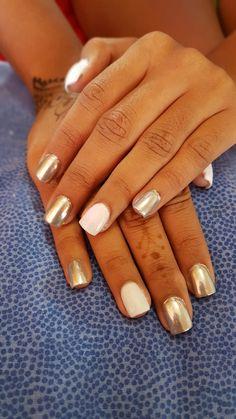 Platinum and white nails
