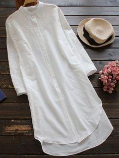 Embroidered High Low Button Up Tunic Shirt Dress - White Blouse Dress, Linen Blouse, Smock Dress, White Kurta, Mode Top, Dresses Short, Komplette Outfits, Straight Dress, Kurta Designs