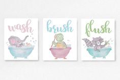 Bathroom decor daycare art Wash flush brush Kids washroom Baby shower gift idea by EllowDee