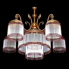 Antique French Art-Nouveau/Deco Glass Straw/Bead Fringe/5 Dome Shades Chandelier #French