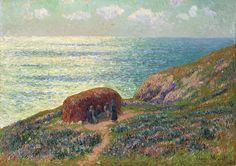 """""""Ramasseuses De Goémon à Moélan"""",  by Henry Moret (1856-1913)    Oil On Canvas"""