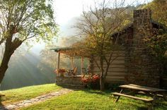 Photo: ~ The Morning Sun Streams down on Bare Farm Cabin on the River ~ in the Hills of Lexington, Virginia