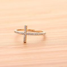 SIDEWAYS CROSS ring with crystals, in gold