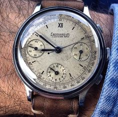Beautiful Eberhard & Co. Vintage Watches For Men, Antique Watches, Vintage Rolex, Dream Watches, Fine Watches, Cool Watches, Swiss Luxury Watches, Beautiful Watches, Chronograph