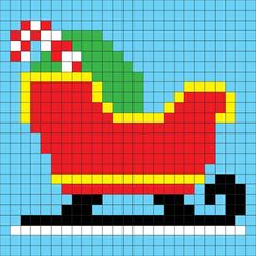 Crochet Sleigh Pixel Square - Repeat Crafter Me Xmas Cross Stitch, Cross Stitching, Cross Stitch Embroidery, Cross Stitch Patterns, Afghan Patterns, Pixel Crochet, C2c Crochet, Crochet Squares, Tapestry Crochet