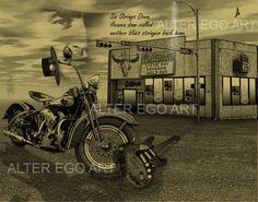Stevie Ray Vaughan 11x14 Print Harley Davidson Antones Austin Texas SRV Art