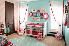 Love the colors & the chevron.  Baby toddler rooms. Nursery