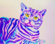 Cheshire Cat Print Trippy psychedelic Alice by PaintMyWorldRainbow, $15.00
