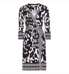 Diane von Furstenberg Black Tallulah Two Silk Jersey Wrap Dress