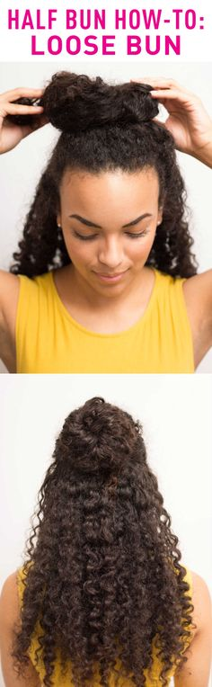 For a fuller, looser bun if you have thick, curly hair: Use your thumbs to gather your hair from ear to ear, pull your hair up on top of your head, loosely wrap your hair around itself, andsecure it with pins instead of a hair tie.