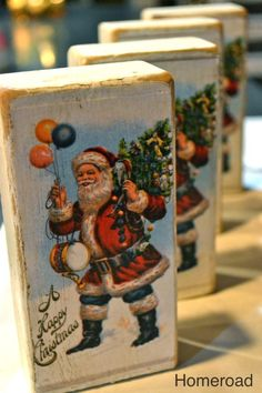 DIY Christmas Postcard Blocks My inspiration today came from Cottage & Bungalows Magazine The magazine featured beautiful Christmas cards decoupaged onto wood. I took the idea a… Vintage Christmas Crafts, Christmas Card Crafts, Christmas Wood, Vintage Crafts, Christmas Projects, Handmade Christmas, Holiday Crafts, Christmas Holidays, Christmas Decorations