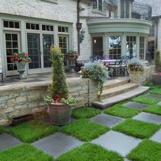 Patio and checkerboard grass