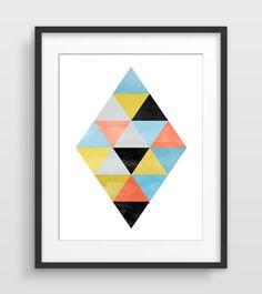 Mid Century Modern Wall Art triangle print, minimalist decor, scandinavian print, mid century