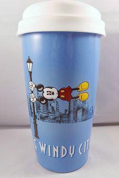 Disney Mickey Mouse Ceramic Travel Mug Windy City Chicago Coffee Tea Disneyana