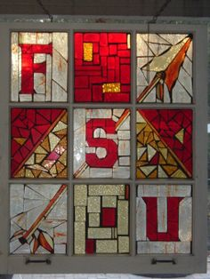 FSU mosaic, Mosaic window using recycled old window. Glued glass to window using clear liquid nails then grouted with sanded grout. Tools are the same for stained glass or any other mosaic. Scrap glass can be used., Home Decor Project