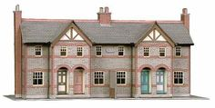 Superquick Four Terraced Houses Card Building Model Kit B30 00/HO Gauge