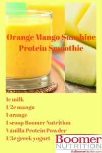 The combination of fruit & Boomer Nutrition ENERGY Protein Powder in this Orange Mango Sunshine Protein Smoothie creates arefreshing glass of morning energy Smoothie Recipes, Smoothies, 30 Grams Of Protein, Vanilla Protein Powder, Vitamin C, Juicing, Mango, Sunshine, Nutrition
