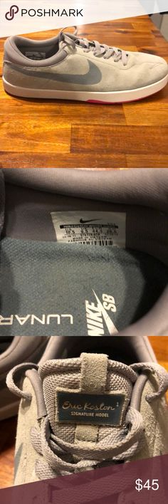 Nike SB Lunarlon Eric Koston Signature Shoes Worn twice Size 10.5 Eric Koston Edition Nike Skateboard shoes.  Light grey with a small pink check on the bottom sole.  No scuffs or scratches. No dirt on the soles.   Very comfortable and durable Nike Shoes Sneakers