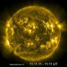 The sun on 11/11/11 from the solar dynamics observatory spacecraft.