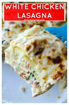 White Chicken Lasagna is rich with sharp cheeses, a creamy bechamel sauce and packed with basil, sun-dried tomatoes and tons of garlic flavor. Comfort food at it's best, this White Chicken Lasagna is hearty, delicious and sure to be your families new favorite chicken recipe. #whitelasagna #whitechickenlasagna #chickenlasagna #easylasagnarecipe #alfredolasagna #whitelasagnaalfredosauce #comfortfood via @awickedwhisk1029