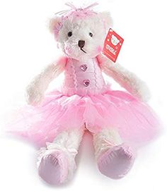 Emma Machine Embroidered Personalized Pink Fleece Softie Teddy Bear with Purple Accents