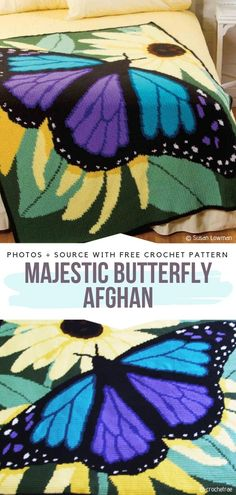 Majestic Butterfly Afghan Free Crochet Pattern - Free Patterns Free Butterfly Crochet Patterns & Projects for Kids and Bedding: Butterfly BROOCH; Butterfly Blanket, Butterfly Costume, Doily and Crochet Afghans, Crochet Motifs, Free Crochet, Crochet Blankets, Easy Crochet, Crochet Stitches, Crochet Butterfly Pattern, Crochet Flowers, Borboleta Crochet