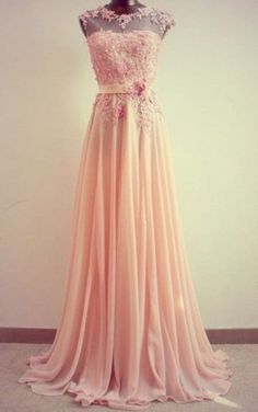Long and flowy pink-peach prom dress 2014 with sheer neckline