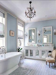 light blue and white bathroom design idea & white wood panelling to make light blue bathroom more airy | Home ...