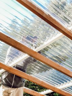 DIY Clear Corrugated Covered Pergola Attached to the House and an Existing Deck – Rain and Pine Backyard Patio Designs, Pergola Designs, Diy Patio, Pergola Ideas, Deck With Pergola, Backyard Pergola, Gazebo, Pergola Roof, Roof Deck