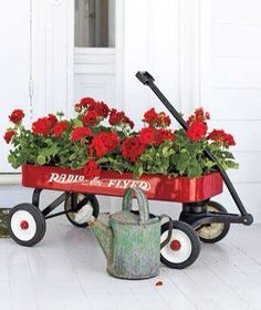 Love red geraniums & old wagons!
