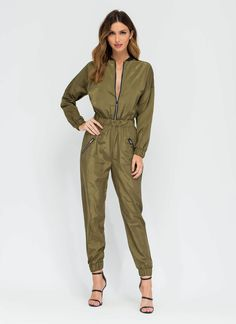 Flight Training Bomber Jumpsuit OLIVE BLACK - GoJane.com