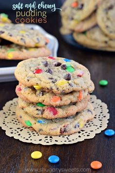 These delicious, soft and chewy M&M Pudding Cookies are the perfect texture and flavor in a sweet cookie recipe! You'll need to bake a double batch! Cookie Desserts, Sweet Desserts, Cookie Recipes, Baking Cookies, Cookie Bars, Sugar Cookies, Christmas Cookies, Best Dessert Recipes, Sweet Recipes