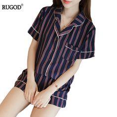 7706294fe6 Summer 2017 New Fashion Women Pajamas Turn-down Collar Sleepwear 2 Two  Piece Set Shirt+Shorts Striped Casual Pajama Set Homewear