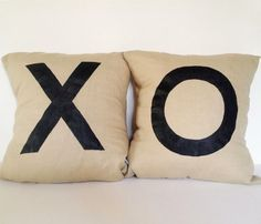 X & O Pillows kisses and hugs (or tic tac toe)