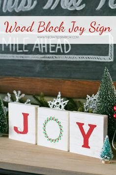 Turn simple wood blocks in to a cute and easy to make holiday JOY sign. Makes a great gift or a great addition to your families holiday decor. Christmas Wood, Christmas Signs, Christmas Holidays, Christmas Decorations, Chritmas Diy, Happy Holidays, Awesome Woodworking Ideas, Kids Woodworking, Woodworking Projects