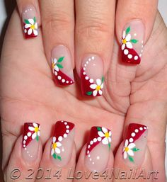 Nail art is a very popular trend these days and every woman you meet seems to have beautiful nails. It used to be that women would just go get a manicure or pedicure to get their nails trimmed and shaped with just a few coats of plain nail polish. Red Nail Designs, Nail Designs Spring, Cute Nails, Pretty Nails, Glitter Manicure, Nailart, Floral Nail Art, Trendy Nail Art, French Tip Nails