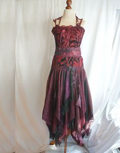 Romantic Tattered Bridesmaid Dress Wine Grape Beet Upcycled Woman's Clothing Funky Style Shabby Chic Eco Friendly Style Upcycled Clothig by cutrag on Etsy https://www.etsy.com/listing/106199792/romantic-tattered-bridesmaid-dress-wine