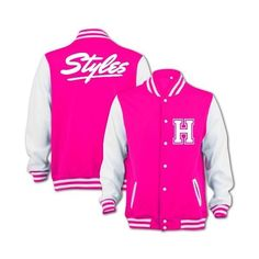 Harry Styles One Direction 1D Inspired Varsity Baseball College... ❤ liked on Polyvore featuring outerwear, jackets, one direction, 1d, pink varsity jacket, varsity jacket, college baseball jackets, pink letterman jacket and varsity bomber jacket
