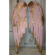 Angel wings large wood metal carved wall sculpture french decor pink... ❤ liked on Polyvore featuring home, home decor, metal wall sculpture, pink home decor, wood home decor, wooden home decor and wooden wall sculpture