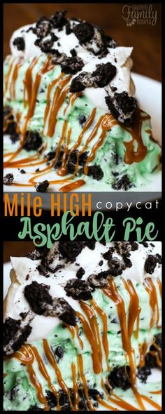 This Mile High Asphalt Pie (Winger's Copycat) is THE BEST frozen pie EVER. It has a chocolatey, Oreo crust, a mint chocolate ice cream filling, a warm salted caramel topping, and you top it all off with some homemade whipped cream. via @favfamilyrecipz