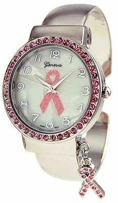 Women's Cuff Watch Pink Ribbon Breast Cancer Awareness Bangle Wristwatch | eBay
