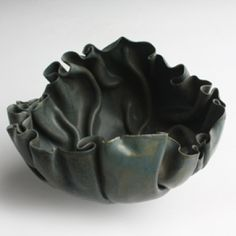 Mary Rogers, A Dark Folded Bowl (handbuilt porcelain), 1985 Ceramic Pinch Pots, Ceramic Plates, Ceramic Art, Pottery Bowls, Ceramic Pottery, Pottery Art, Organic Ceramics, Clay Bowl, Hand Built Pottery