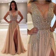 Champagne Prom Dresses,Deep V-neck Prom Dress,Sparkly Prom Dresses,Front Split Prom Dress,Evening Dresses,Long Prom Dresses,Prom Dresses 2017,Party Dresses,Modest Prom Gowns