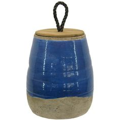 Blue Ceramic Vase with Lid ($24) ❤ liked on Polyvore featuring home, home decor, vases, blue, ceramic vase, blue ceramic vase, blue vase, threshold home decor and handmade ceramic vase