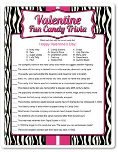 Printable Valentine Fun Candy Trivia, other adult V-day games My Funny Valentine, Valentines Day Trivia, Valentines Day Couple, Valentines Day Activities, Valentine Day Crafts, Happy Valentines Day, Valentine Party, Printable Valentine, Valentine Ideas